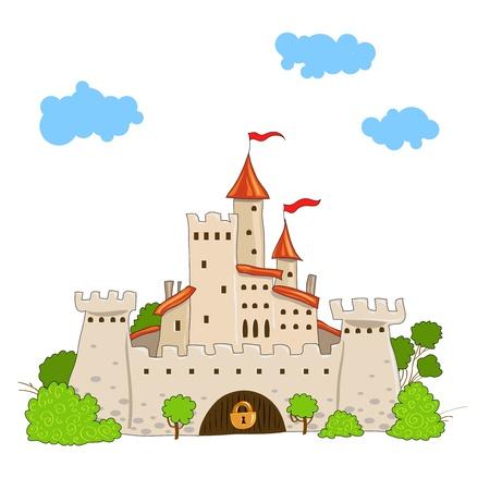 castillo de cuento de hadas, con árboles y nubes torres