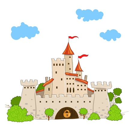 castle silhouette: fairytale castle with towers trees and clouds