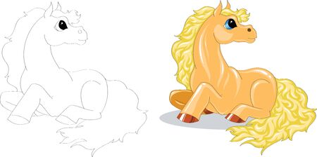 yellow cartoon horse color and contour Vector