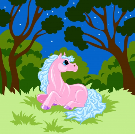pink fairy  horse with blue mane is in the woods at night Illustration