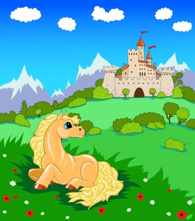 small yellow horse lying in a meadow of flowers near the Castle Stock Vector - 16833320