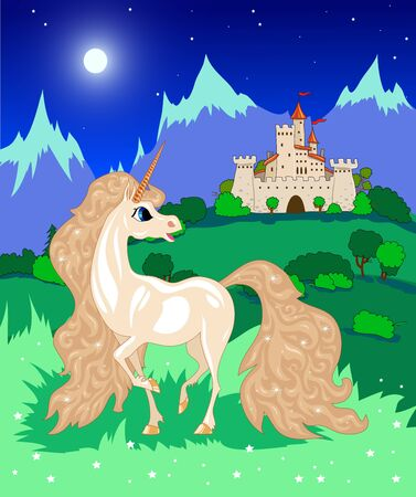 white unicorn in the mountains at night Vector