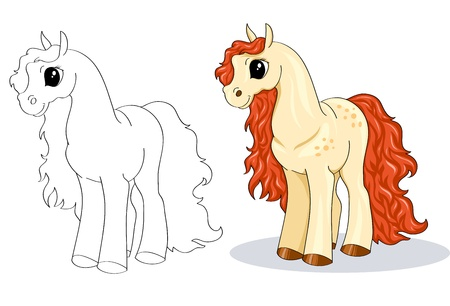 Little cartoon horse with red mane and tail on a white background Illustration