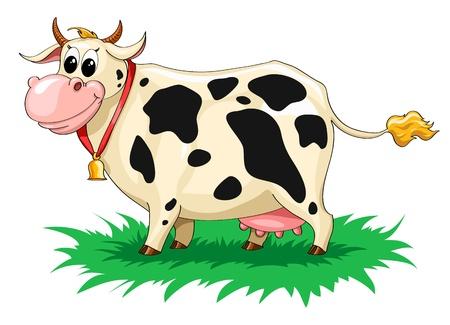 grappige gespot koe met een bel op een groen gazon