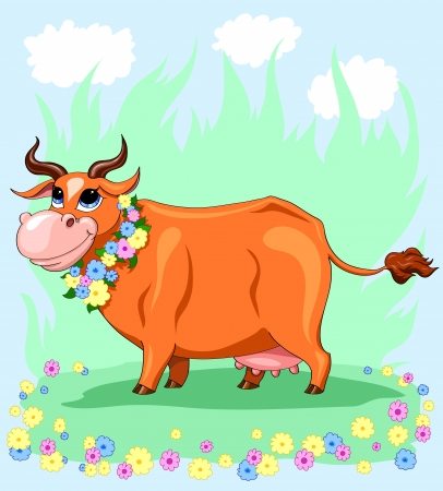 Cartoon red cow in the flowers Stock Vector - 16868312
