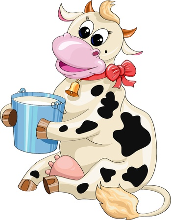 funny cartoon spotted cow with a bucket of milk on a white background Vector