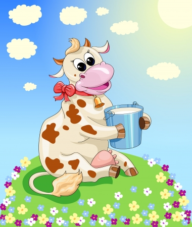 funny cow in a meadow of flowers on a sunny day