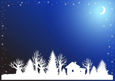 Christmas background with winter forest moon and snow Illustration