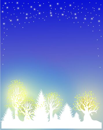 Christmas and New Years background with trees and illuminated garlands