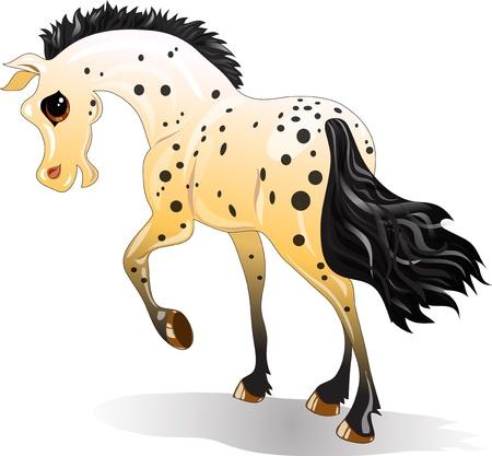 Cartoon gevlekte paard in beweging op een witte achtergrond