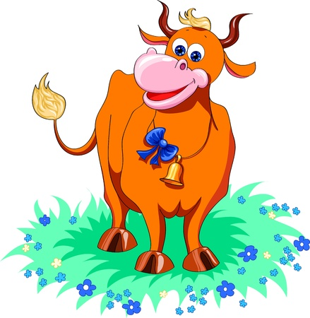 cow bells: funny red cow in the meadow with flowers Illustration