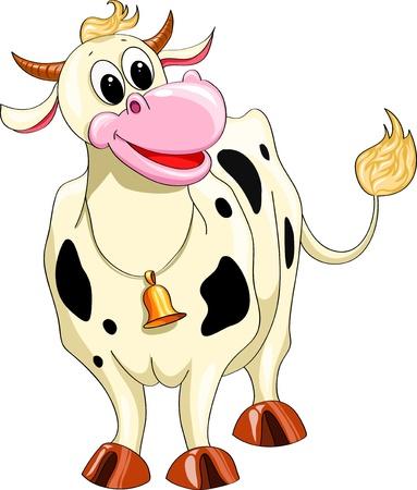 cow bells: Historieta sonriente vaca manchada sobre un fondo blanco Vectores