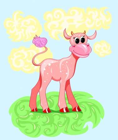 pink cartoon baby cow with stars Stock Vector - 17206582