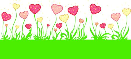 background with flowers in the form of hearts Stock Vector - 17206603