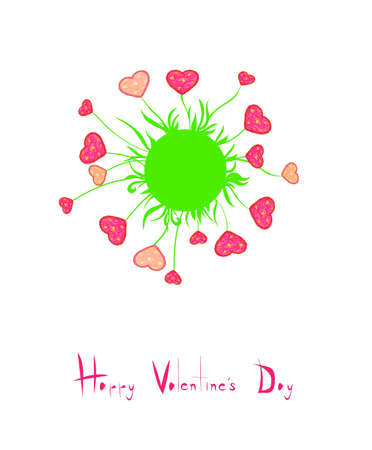 card with flowers heart shaped Valentine Stock Vector - 17206606