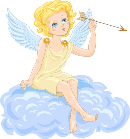 cute cupid with an arrow on the cloud Vector