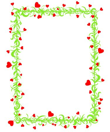 Love Frame with green leaves and hearts on a white background Stock Vector - 17242620