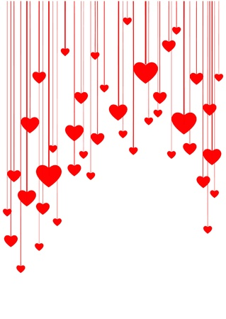 White background with red hearts on threads