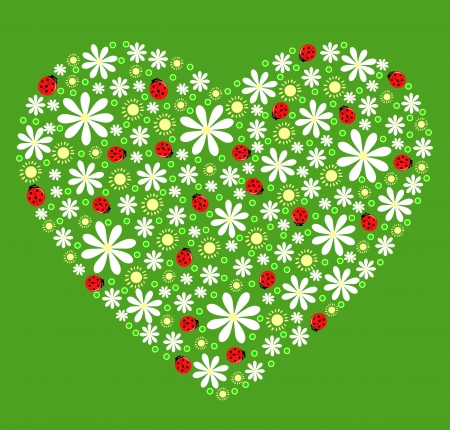 heart of flowers, suns and ladybirds on a green background Vector