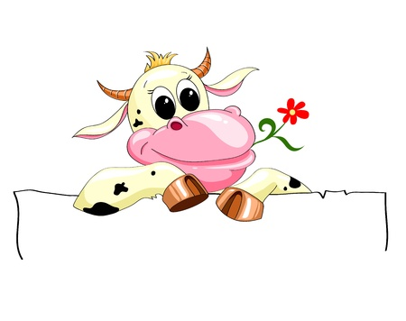 funny spotted cow with a banner and a flower Vector