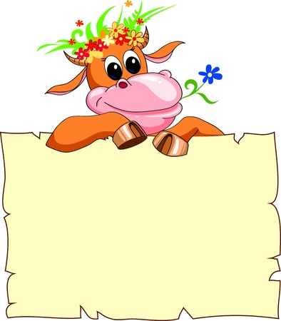 cheerful red cow with a banner and a wreath of flowers 일러스트
