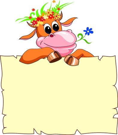 vaca caricatura: alegre vaca roja con una bandera y una corona de flores