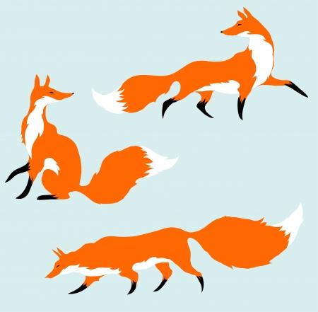 Tres zorros rojos en movimiento Ilustración de vector