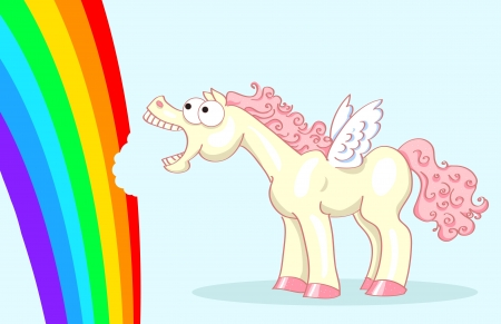 crazy pony with wings and a pink mane and tail eating rainbow Stock Vector - 17564031