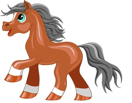 little pony cartoon on a white background Vector