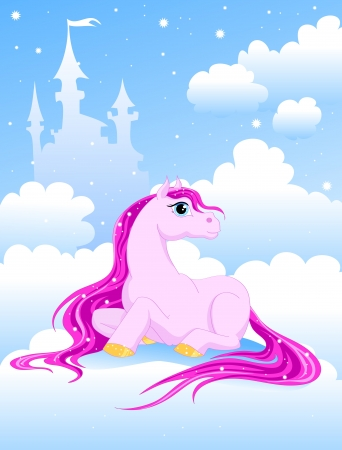 magic pink pony on a cloud near the Castle Stock Vector - 17564173