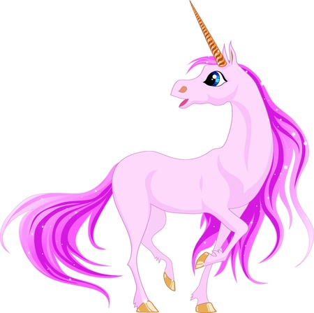 Beautiful unicorn with pink mane and tail