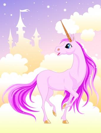 cartoons designs: unicorno rosa su una nuvola nei pressi del Castello