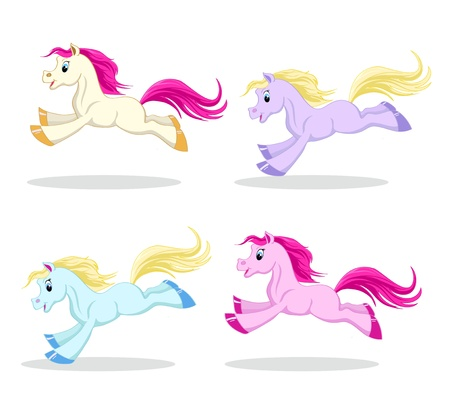 set of colored pony in motion on a white background