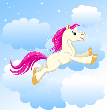 beautiful little pony running on clouds Vector