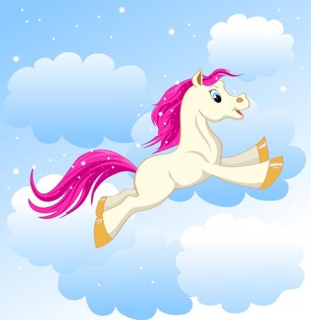 mooie kleine pony die op wolken