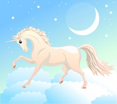 luna caricatura: unicornio blanco est� en las nubes en el cielo con la luna y las estrellas