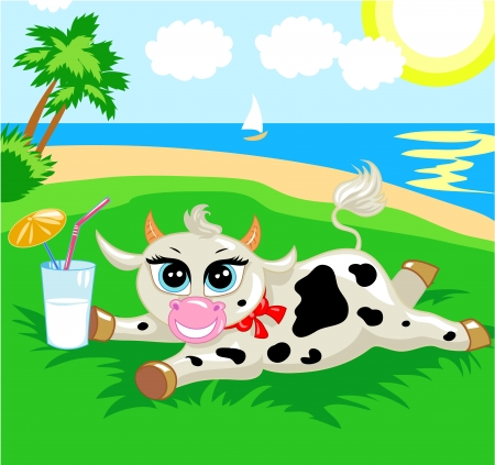 funny spotted cow with a cocktail on the beach Stock Vector - 17564182