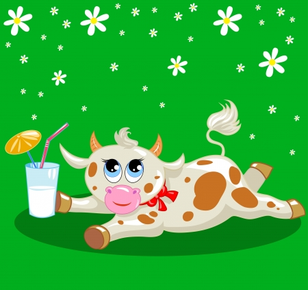 spotted cow with a milkshake on a green background with flowers Stock Vector - 17564181