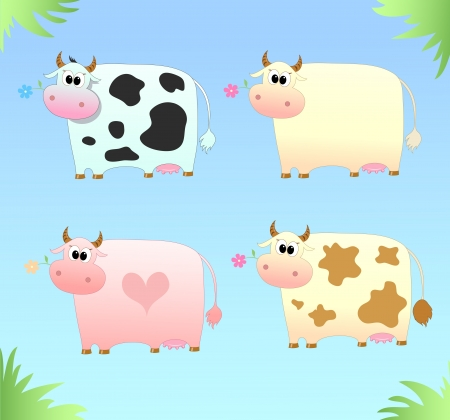 illustration of four colored cow with a flower Stock Vector - 17564206