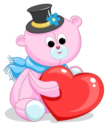 pink teddy bear with a heart on a white background