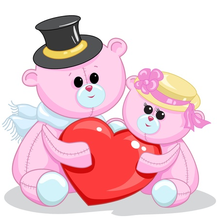 two toy teddy bear with a heart on a white background Vector