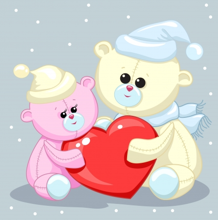 two toy teddy bear with a heart Vector