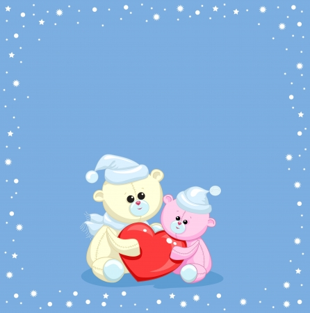 two toy teddy bear with a heart on a blue background with snow Stock Vector - 17564205