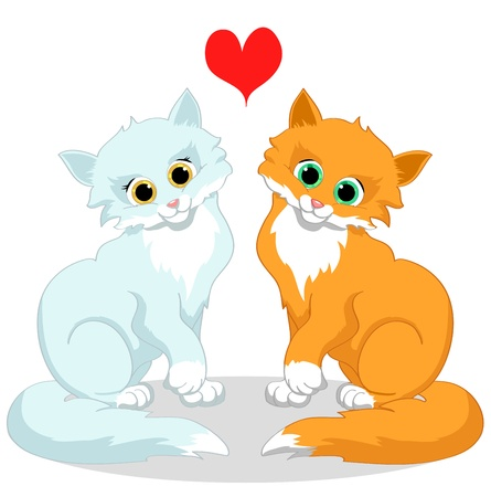 Happy cats in love on a white background Иллюстрация