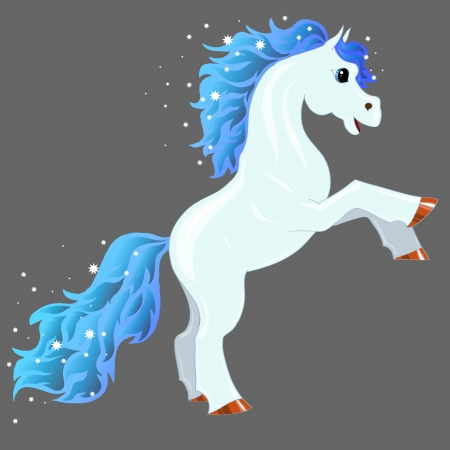 magic blue horse with shiny mane and tail