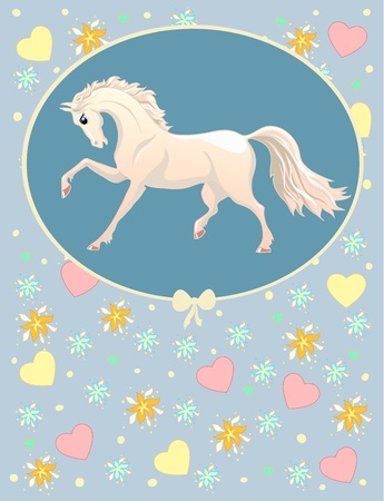 card with white horse on a blue background with patterns Vector