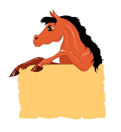 cheerful brown pony with a congratulatory bank on a white background