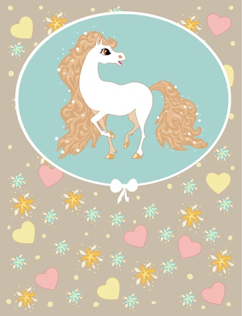 card with white horse on a blue background with patterns