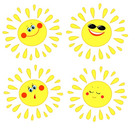 Four of the sun with different emotions on a white background