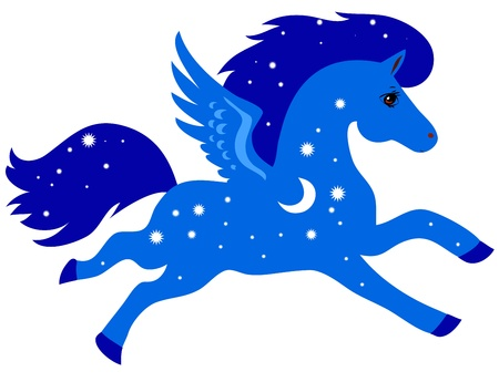Blue horse with wings, stars and moon on a white background